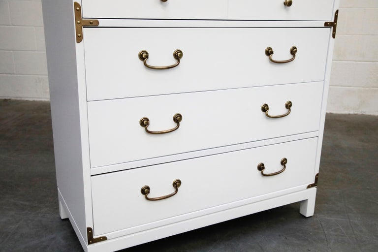 Tommi Parzinger Styled White Lacquer Brass Campaign Dresser by Drexel, Signed For Sale 11