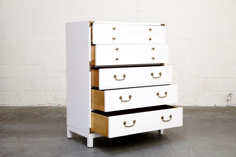 American Tommi Parzinger Styled White Lacquer Brass Campaign Dresser by Drexel, Signed For Sale