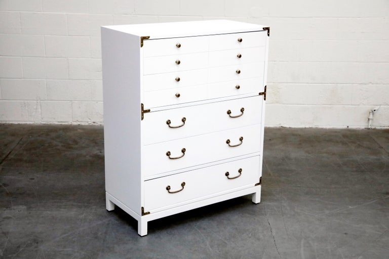 Lacquered Tommi Parzinger Styled White Lacquer Brass Campaign Dresser by Drexel, Signed For Sale