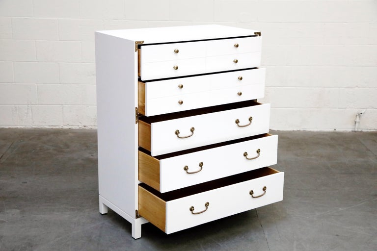 Tommi Parzinger Styled White Lacquer Brass Campaign Dresser by Drexel, Signed In Excellent Condition For Sale In Los Angeles, CA