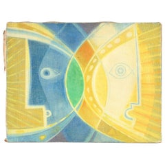 "Tommi Parzinger, ""Sunn and Moon"" Oil on Burlap, 1965"