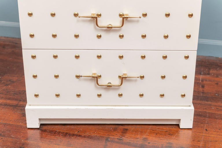 Tommi Parzinger Two-Drawer Studded Dressers For Sale 3