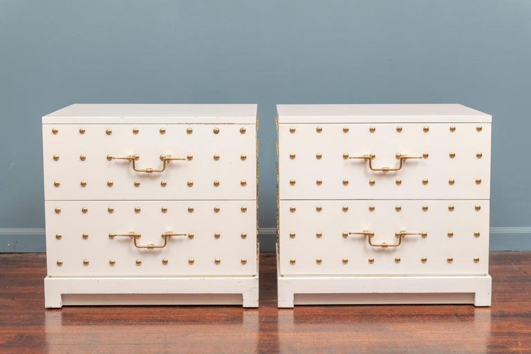Mid-Century Modern Tommi Parzinger Two-Drawer Studded Dressers For Sale