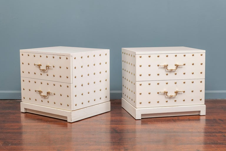 American Tommi Parzinger Two-Drawer Studded Dressers For Sale