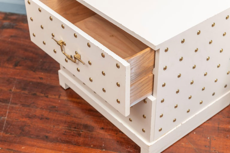 Tommi Parzinger Two-Drawer Studded Dressers In Good Condition For Sale In San Francisco, CA