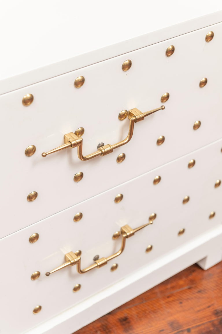 Mid-20th Century Tommi Parzinger Two-Drawer Studded Dressers For Sale