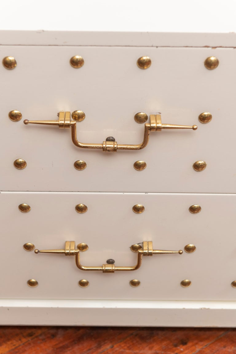 Brass Tommi Parzinger Two-Drawer Studded Dressers For Sale