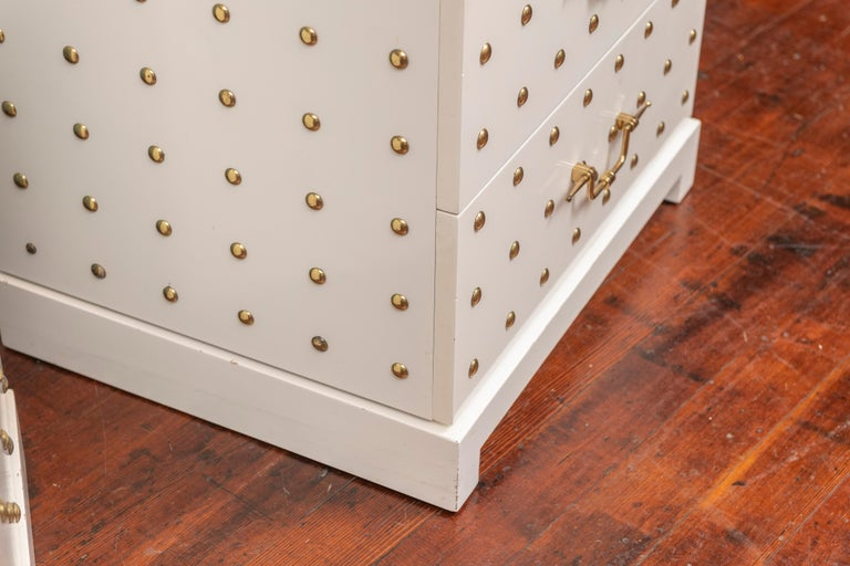 Tommi Parzinger Two-Drawer Studded Dressers For Sale 1