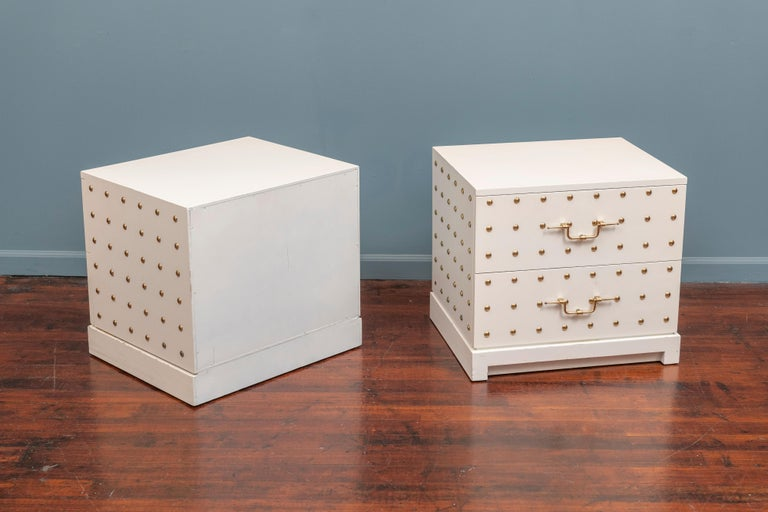 Tommi Parzinger Two-Drawer Studded Dressers For Sale 2