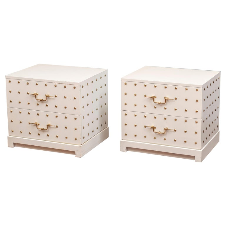 Tommi Parzinger Two-Drawer Studded Dressers For Sale