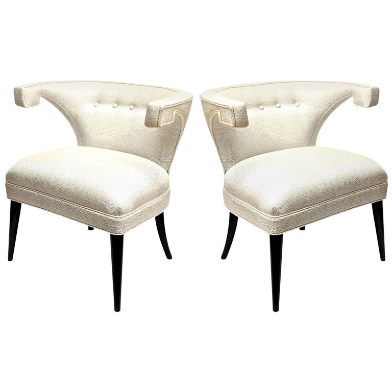 Tommi Parzinger Veronese Wood and Upholstered Side Chairs Mid-Century Modern For Sale