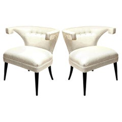 Tommi Parzinger Veronese Wood and Upholstered Side Chairs Mid-Century Modern