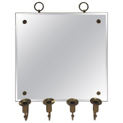 Tommi Parzinger Wall Mirror with Brass Candleholders