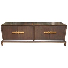 Tommi Parzinger Wood and Brass Cabinet Mid-Century Modern