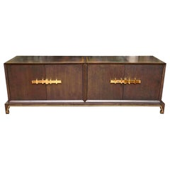 Tommi Parzinger Wood and Brass Credenza Cabinet Mid-Century Modern