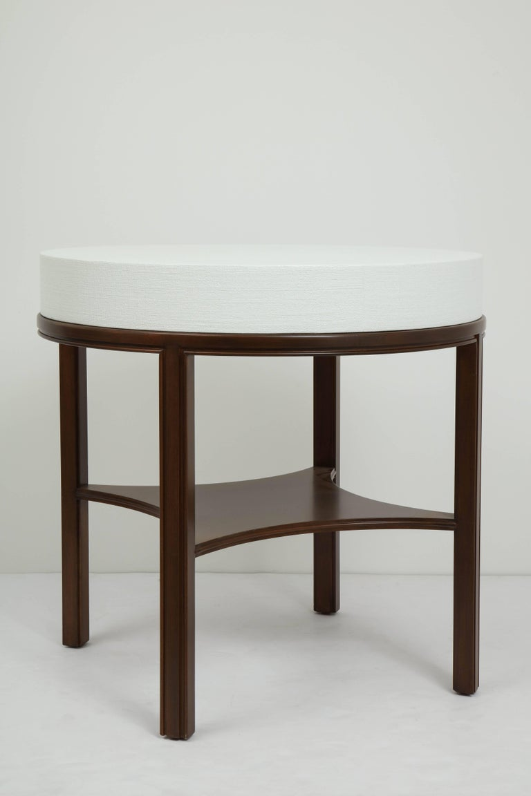 Tommi Parzinger Lacquered Linen, Walnut Side Tables For Sale 2