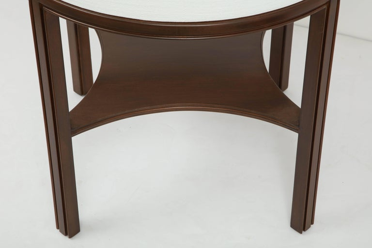 Tommi Parzinger Lacquered Linen, Walnut Side Tables For Sale 3