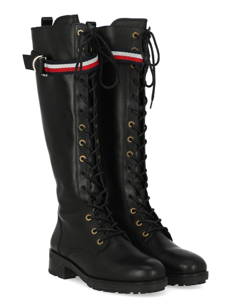 Product Description: Boots, leather, solid color, knee-length, iconic detail, side fastening, silver-tone hardware, round toe, branded sole, low and flat heel  Includes: N/A  Product Condition: Very Good Sole: negligible signs of use. Upper: