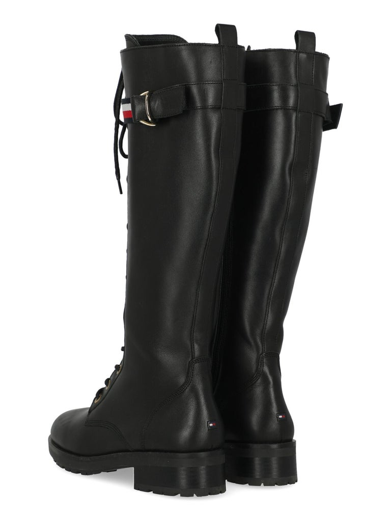 Tommy Hilfiger Women Boots Black Leather EU 41 In Good Condition In Milan, IT