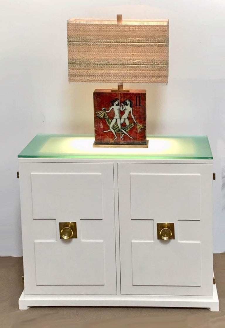 American Tommy Parzinger Illuminated Bar Cabinet For Sale