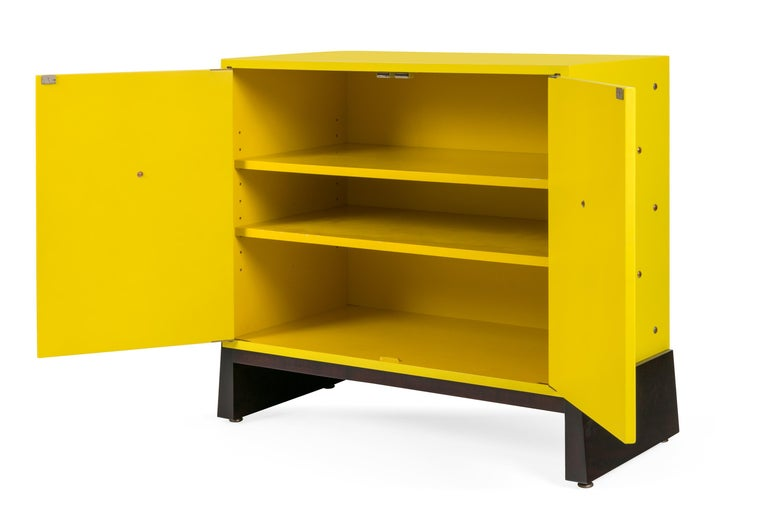 Mid-Century Modern Tommy Parzinger Yellow Lacquered Studded Two-Door Cabinet, USA, 1950s For Sale