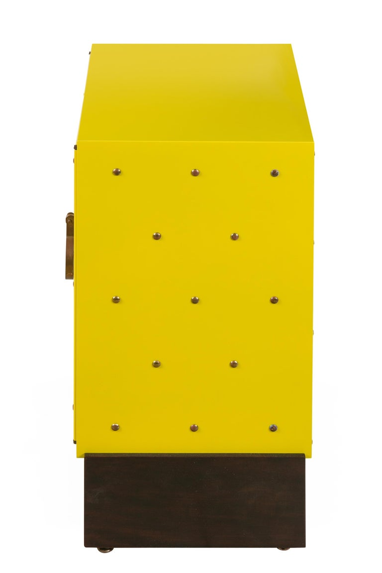 American Tommy Parzinger Yellow Lacquered Studded Two-Door Cabinet, USA, 1950s For Sale