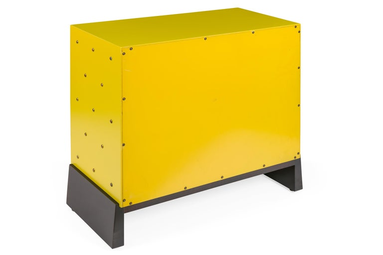 Tommy Parzinger Yellow Lacquered Studded Two-Door Cabinet, USA, 1950s In Excellent Condition For Sale In New York, NY