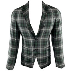 TOMORROWLAND Size XS Grey & Green Plaid Cotton / Silk Sheer Sport Coat
