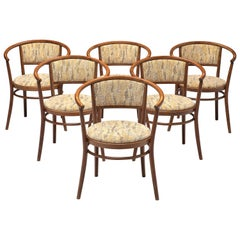 Ton Armchairs in Bentwood with Fabric Upholstery