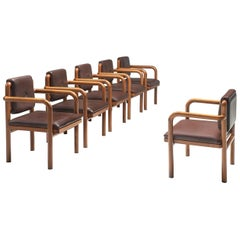 Ton Armchairs in Brown Upholstery