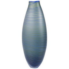 Tonal Frequency Vase in Grey, a unique glass vase in grey & blue by Liam Reeves