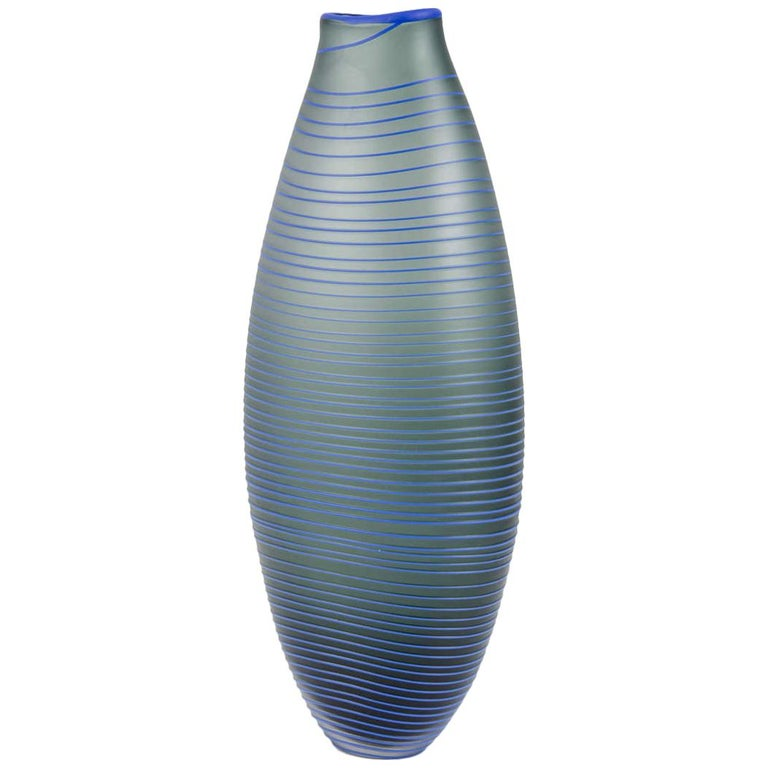 Tonal Frequency Vase in Grey, a unique glass vase in grey & blue by Liam Reeves For Sale