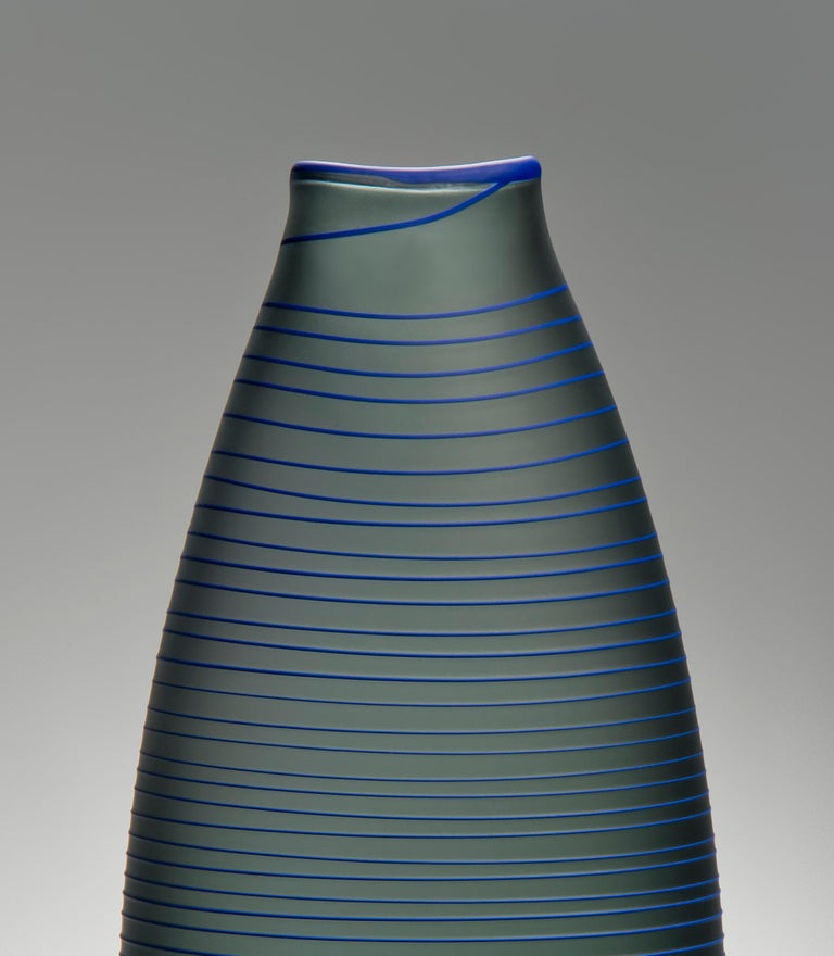 British Tonal Frequency Vase in Grey, a unique glass vase in grey & blue by Liam Reeves For Sale