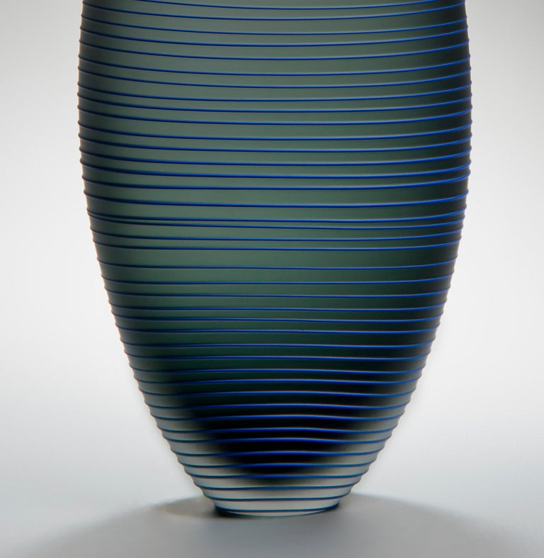Hand-Crafted Tonal Frequency Vase in Grey, a unique glass vase in grey & blue by Liam Reeves For Sale