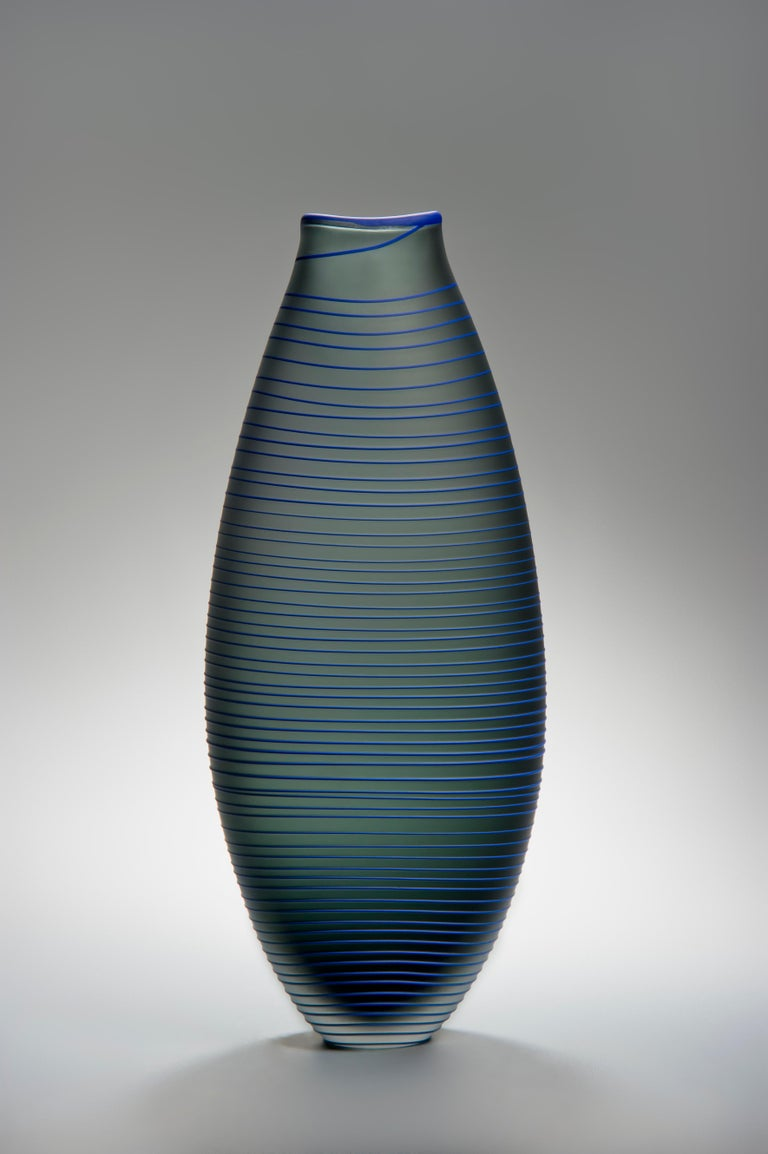 Tonal Frequency Vase in Grey, a unique glass vase in grey & blue by Liam Reeves In New Condition For Sale In London, GB