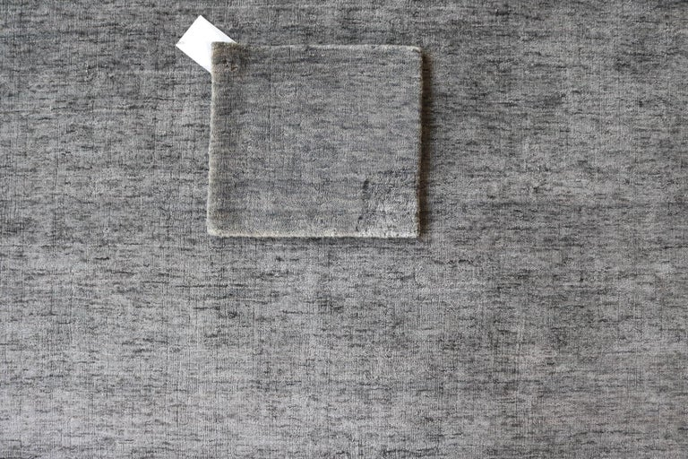 Post-Modern Tonal Solid Grey Rug, Hand-Loomed, Soft Feel, Bamboo Silk, Grey Indigo, Square For Sale