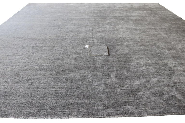 Indian Tonal Solid Grey Rug, Hand-Loomed, Soft Feel, Bamboo Silk, Grey Indigo, Square For Sale
