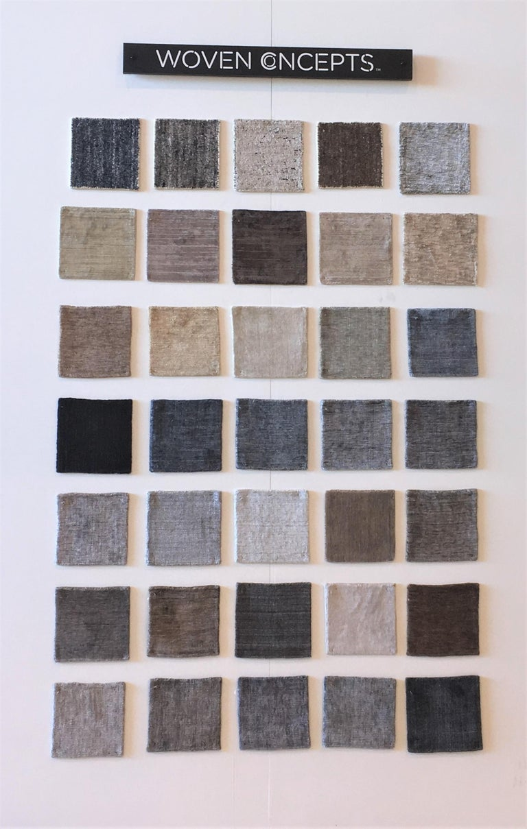 Hand-Woven Tonal Solid Grey Rug, Hand-Loomed, Soft Feel, Bamboo Silk, Grey Indigo, Square For Sale