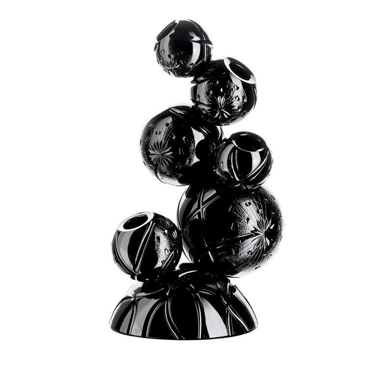 Italian Tondo Doni Rhapsody Black Vase by Mario Cioni For Sale