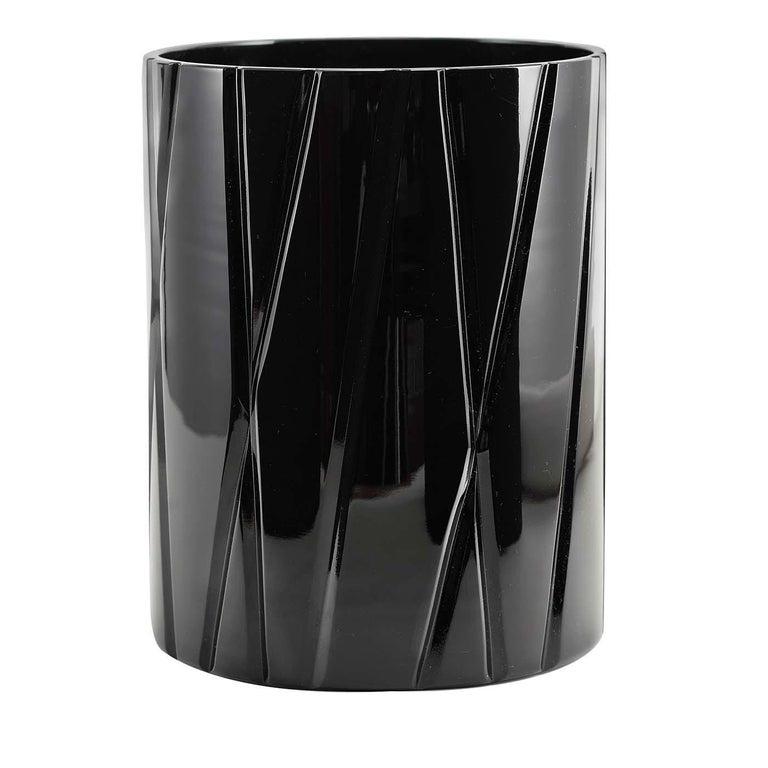 Italian Tondo Doni Skyline Black Short Vase by Mario Cioni For Sale