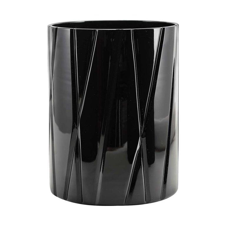 Tondo Doni Skyline Black Short Vase by Mario Cioni For Sale