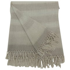 Tone-on-Tone Beige Merino Wool Throw with Hand Knotted Fringes