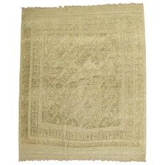 Tone on Tone Vintage Persian Souf Carpet, Square Size