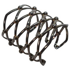 Toned Silver Large Lattice Cuff Bracelet