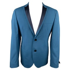 TONELLO Size 40 Teal Wool Blend Peak Lapel Sport Coat