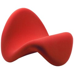 Tongue Chair by Pierre Paulin for Artifort, Fabric Brick Red