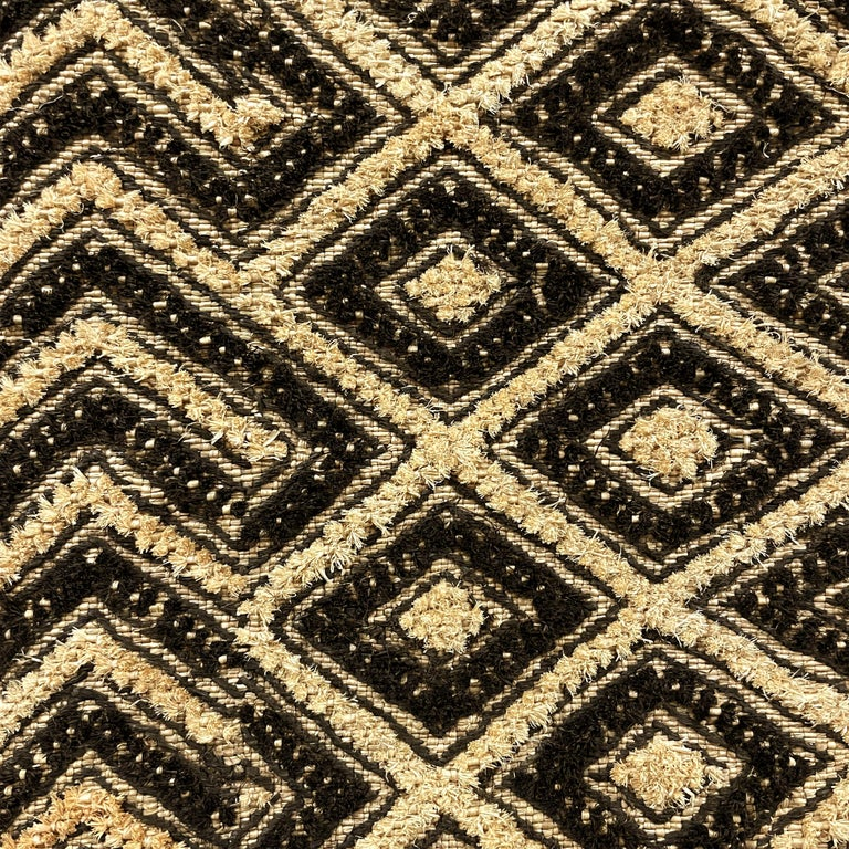 Congolese Tongue-in-Cheek Mounted Kuba Cloth Panel For Sale