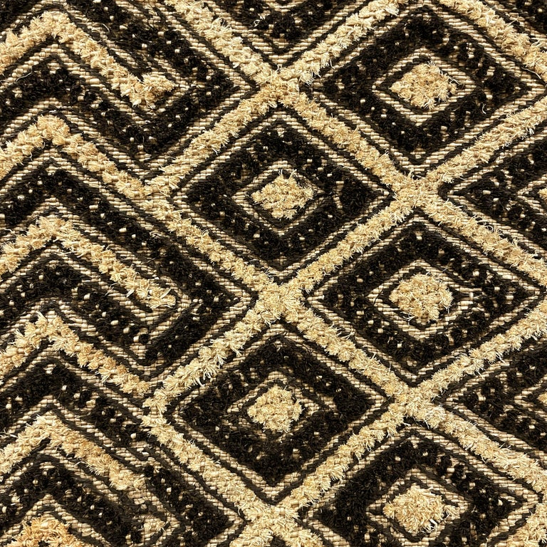 Hand-Woven Tongue-in-Cheek Mounted Kuba Cloth Panel For Sale