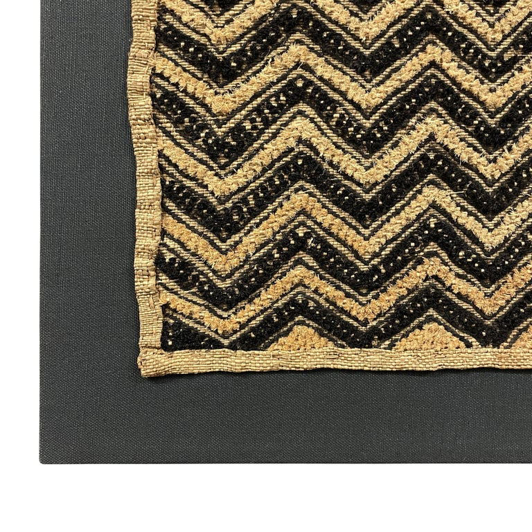 Tongue-in-Cheek Mounted Kuba Cloth Panel In Good Condition For Sale In Chicago, IL