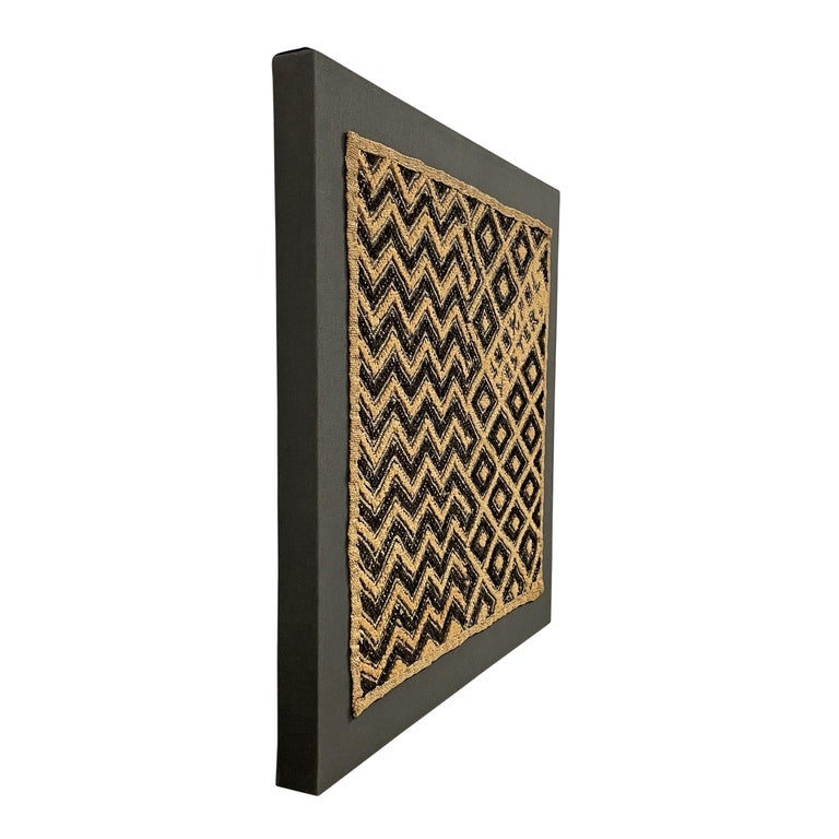 20th Century Tongue-in-Cheek Mounted Kuba Cloth Panel For Sale